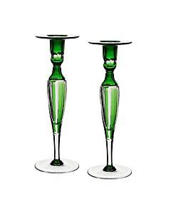 Emerald Pair of Candlesticks