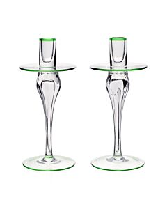Siena Pair of Candlesticks Green